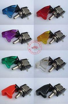 Flip up cover aircraft toggle switch 12V car LED indicator light | eBay