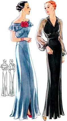 1935 Ladies Evening Gown With Two Neckline Options - Reproduction Sewing Pattern - 38 Inch Bust 1930s Fashion, Vintage Fashion, Classy Fashion, Vintage Vogue, Vintage Glamour, Vintage Outfits, Evening Gown Pattern, Evening Dresses, Formal Dresses