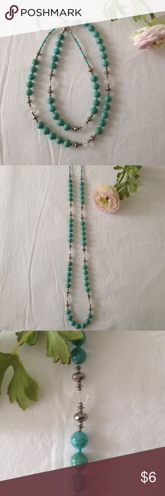 """Turquoise Necklace Turquoise colored beads (not genuine turquoise), silver beads, clear beads on a 35"""" strand. Adjusts from 35""""-39"""". Jewelry Necklaces"""
