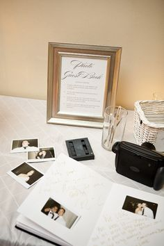 love this photo guest book! @Kimberly Peterson House what does the framed sign say?