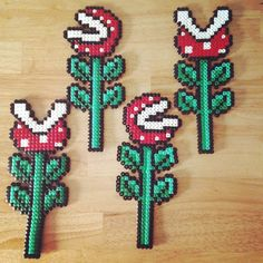 Mario flowers hama beads by jo_coulson82 perler,hama,square pegboard,video games,nintendo,mario,