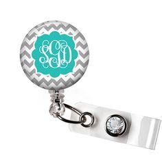 Retractable ID Badge Reel - Personalized Gray and Teal Chevron Monogram Reel Badge ID - Nurse Badge Reel