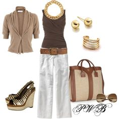 Love, all but the shoes. Spring Brown, created by pamela-barrett-williamson on Polyvore