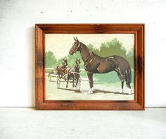 Paint By Number Horses   PBN Painting   Harness Racing PBN   Rustic Wood Frame   Horse Painting
