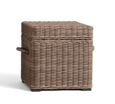 Torrey All-Weather Wicker Accent Cube - Natural #potterybarn
