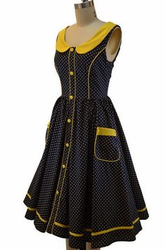 "navy and yellow polka dot pin up dress :: I saw this on ""Bates Motel"" and here it is! Short African Dresses, African Print Dresses, African Print Fashion, African Fashion Dresses, Sotho Traditional Dresses, South African Traditional Dresses, Vestidos Vintage, Vintage Dresses, Norma Bates"