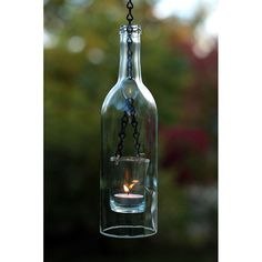 Wine Bottle Chain Lantern - Hanging tealight lantern made from an upcycled wine bottle.