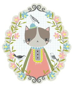 Spring Cat - part of a wall decal set for The Land of Nod | Flora Waycott