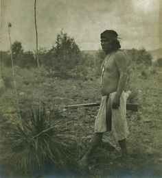 White Mountain Apache man near Mopquo, Arizona - circa 1900