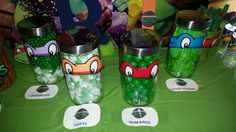 TMNT Ninja Turtle candy Buffet table. I had for my oldest son RJ 9th birthday party