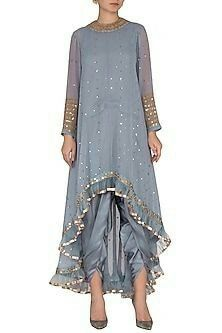 Grey Embroidered Dhoti Kurta Set With Inner Design by Vvani by Vani Vats at Pernia's Pop Up Shop Pakistani Dress Design, Pakistani Dresses, Indian Dresses, Indian Outfits, Indian Fashion Designers, Indian Designer Wear, Kurta Designs Women, Blouse Designs, Indian Wear