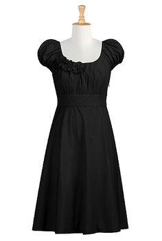 #eshakti #littleblackdress #lbd #dresses #black #rosettes #bridesmaids #puffsleeves