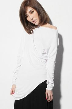 Unsymmetric Clipping White Pullover #Romwe