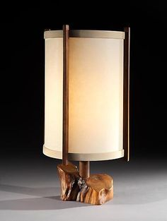 George Nakashima (1905 - 1990) Table Lamp in Walnut and Holly with a Fiberglass Shade
