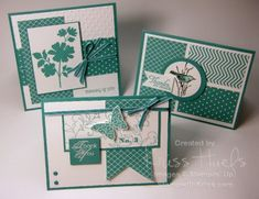 Bermuda Bay trio of handmade cards... monochromatic ... patterned papers ...