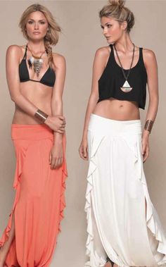 THE COLLECTION SEVILLE MAXI SKIRT CORAL OR CREAM CALL SPLASH TO ORDER 314-721-6442