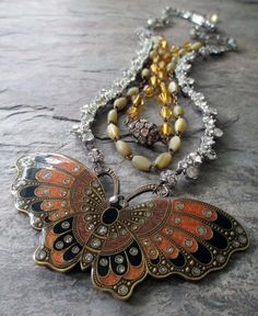 AUTUMN BUTTERFLY  vintage assemblage necklace by TheFrenchCircus