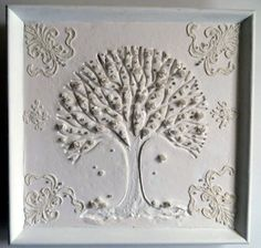 Mixed Media Shabby Rose Tree Antique Lace Shadow by Studiomoonny