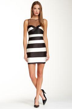 BCBGMAXAZRIA | Colorblock Bodycon Dress |  Stripe Holiday Dress