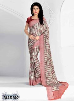 Contemporary Pink Coloured Italian Crepe Casual saree