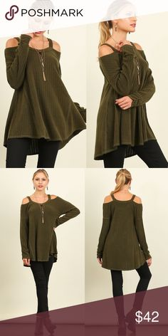EMSLEY cold shoulder long sleeve top - OLIVE Super soft. A - line top. NO TRADE, PRICE FIRM Bellanblue Tops Blouses