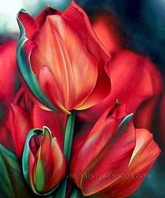 """Impression Buy Art Online Painting Reproduction Floral Painting Tulip, Size: 20"""" x 24"""", $89. Url: http://www.oilpaintingshops.com/impression-buy-art-online-painting-reproduction-floral-painting-tulip-2267.html"""