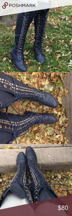 Military Blue OTK Studded Boots Brand new over the knee flat studded, lace up boots with side zip and silver tone hardware. Man made materials. Shoes Over the Knee Boots