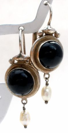 """Sterling Silver Black Onyx & Pearl Earrings Dangle Pierced LeverBack Vintage 925  This is a pair of sterling silver pierced leverback earrings with black onyx cabochon gemstones and dangling freshwater pearls.  They measure 1.38"""" long by .5"""", weigh 4.4 grams and are hallmarked 925. in Jewelry & Watches, Fine Jewelry, Fine Earrings"""