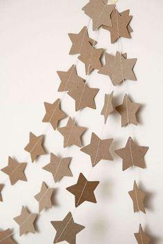 Guirlande de Noël, guirlande en papier kraft, étoile en papier kraft, déco de Noël nature