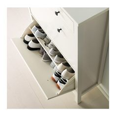 HEMNES Shoe cabinet with 2 compartments, black-brown, A place to organize and store all your shoes, making life on the go a little easier. The simple, classical design with a touch of tradition looks great with other furniture in the HEMNES series. My Home Design, House Design, Ikea Hemnes Shoe Cabinet, Shoe Dresser, Ikea Shoe Storage, Hallway Storage, Diy Home, Home Decor, Closet Bedroom