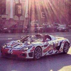 Sun setting on the Koenigsegg CCXR - The Swedish made car with Norway flag wrap #Gumball3000