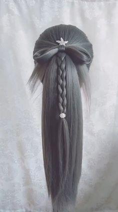 Hairdo For Long Hair, Easy Hairstyles For Long Hair, Teen Hairstyles, Pretty Hairstyles, Hair Up Styles, Girl Hair Bows, Doll Hair, Cool Hair Color, Hair Videos