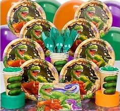 Dinosaur Adventure Birthday in a Box From $13.99  A Dinosaur Attack party is a wonderful idea for an upcoming birthday. With the assortment of party supplies available at Birthday Party Themes, decorating for this party is fun and easy. Grab a basic party pack for all the items needed for the occasion. The plates, cups, napkins and invitations as well as balloons and the centerpiece for the table are part of the pack. It even includes the candles for the cake and placemats.