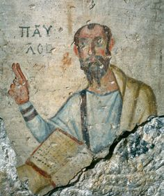 Detail of Paul on 5th-6th century fresco at the Grotto of Paul and Thecla, Ephesus.