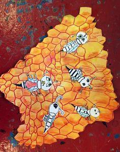 Včelí plástev - anilinky, pastelka, tuš. Bowser, Turtle, Animals, Fictional Characters, Turtles, Animales, Animaux, Tortoise, Animal