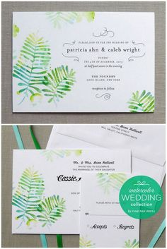 Forest Fern Botanical Wedding Invitation. These watercolor wedding invites are printed on cotton cardstock and can be designed using the typography and colors of your choosing. http://www.confettidaydreams.com/botanical-wedding-invitations/