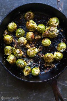 Roasted Brussels Sprouts ~ Brussels sprouts, oven-roasted with garlic, olive oil, lemon juice, salt, pepper, and Parmesan cheese. ~ SimplyRecipes.com