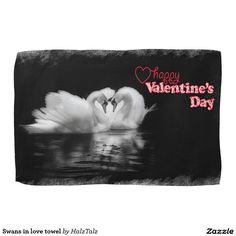 Swans in love towel