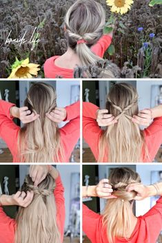 Double pull through braid - Flechtfrisuren Ponytail Hairstyles, Cool Hairstyles, Pull Through Braid, Simple Ponytails, Natural Shampoo, Man Bun, Media Images, Hair Care, Braids