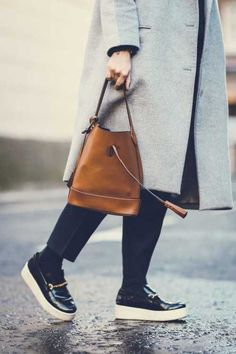 What ELLE Wears on November Its starting to get cold out. Black Socks, Shoes With Jeans, Get Dressed, Cool Girl, Bucket Bag, Messenger Bag, What To Wear, Celebrity Style, Winter Fashion