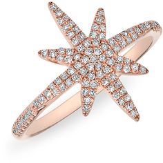Anne Sisteron  14KT Rose Gold Diamond Glimmer Star Ring ($930) ❤ liked on Polyvore featuring jewelry, rings, rose, red gold ring, rose jewelry, red gold jewelry, diamond rings and rose gold jewelry