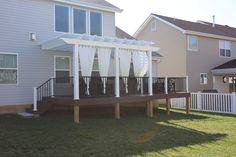 Composite pergola with privacy curtains in St. Privacy Curtains, Deck Builders, Deck With Pergola, Backyard, Patio, Aesthetic Design, Building Design, St Louis, Custom Design