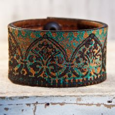 Unique Spring Leather Cuff April Trends by rainwheel on Etsy