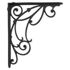 Winding Scrollwork Aluminum Shelf Bracket - Black Powder Coat