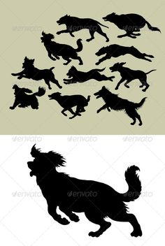 Dog Running Silhouettes - Animals Characters