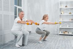 Smiling elder couple performing exercise with dumbbells at home Photo Calf Stretches, Muscle Stretches, Muscle Imbalance, Muscle Contraction, Lower Back Exercises, Tummy Tucks, Core Muscles, Abdominal Muscles, Back Pain