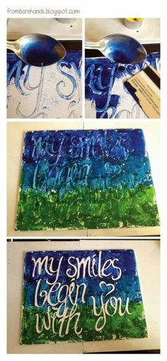 DIY: Quote Posters (Canvas and Melted Crayons) write with elmers glue and peel off? by jacki2