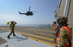 French Armée de Terre Puma 16 September 2014, from the French forces stationed in Djibouti (FFDJ) making a touch and go on Danish Navy HDMS Esbern Snare. French providing support and transport while the Danish ship is engaged on Operation Ocean Shield the NATO anti piracy mission.