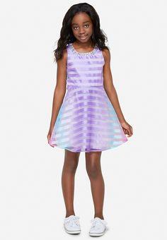 Embellished Neckline Rainbow Dress