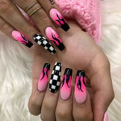 Edgy Nails, Grunge Nails, Trendy Nails, Swag Nails, Acrylic Nails Coffin Short, Summer Acrylic Nails, Best Acrylic Nails, Spring Nails, Coffin Nails